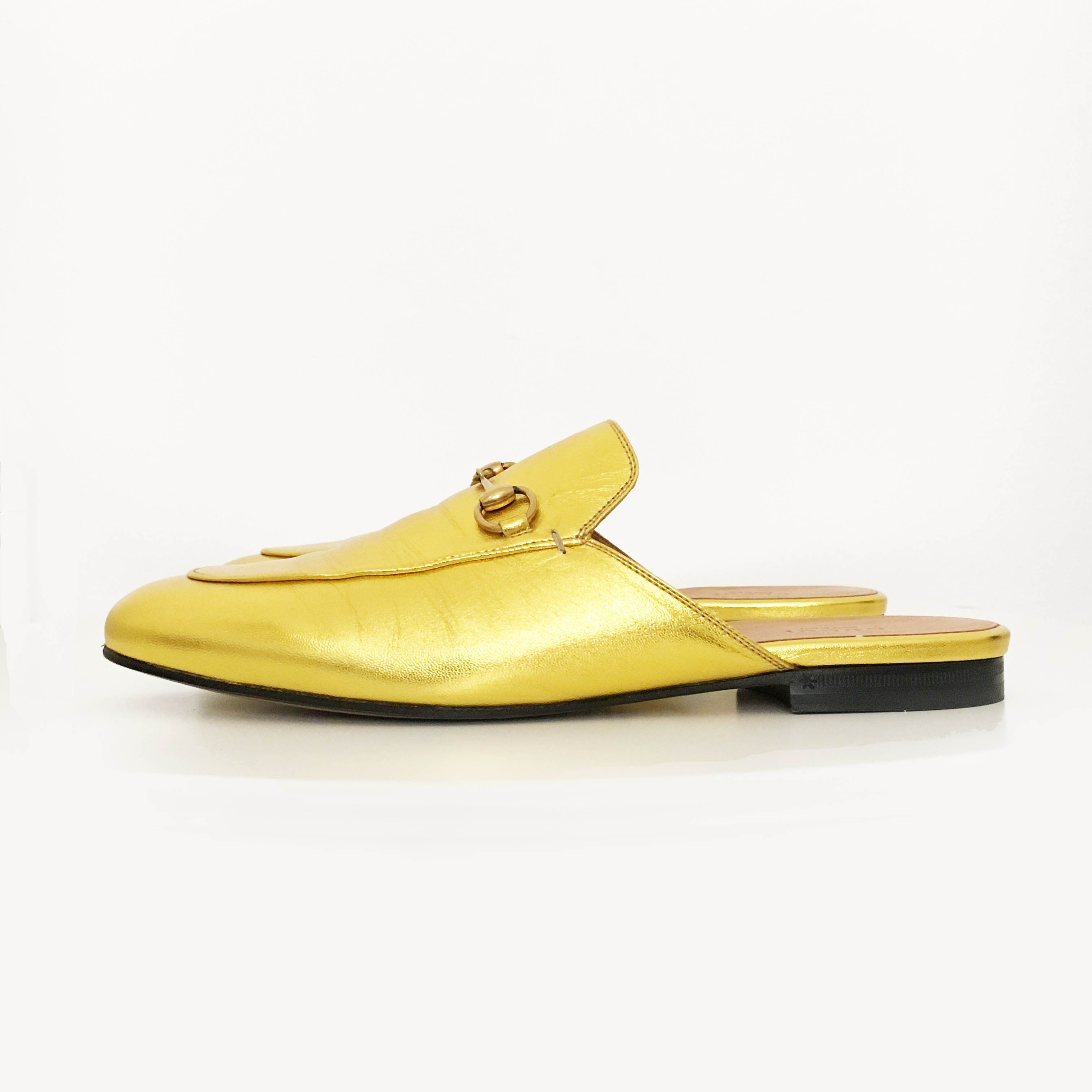 Gucci Princetown Gold Metallic Leather Slipper