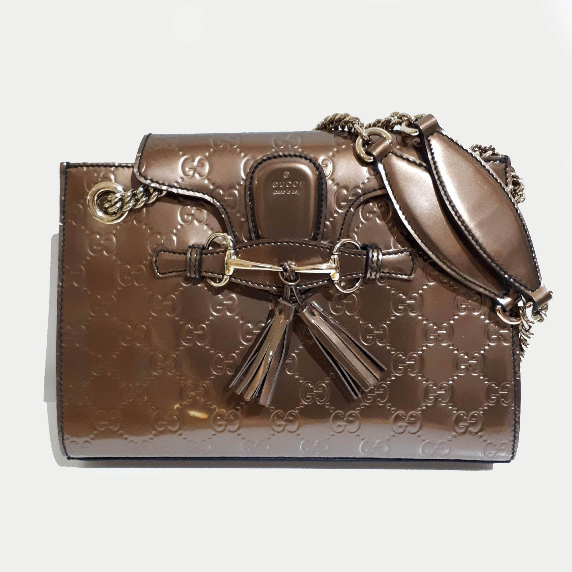 6bd6ebb0757 Gucci Emily Small Guccissima Leather Chain Shoulder Bag – Garderobe