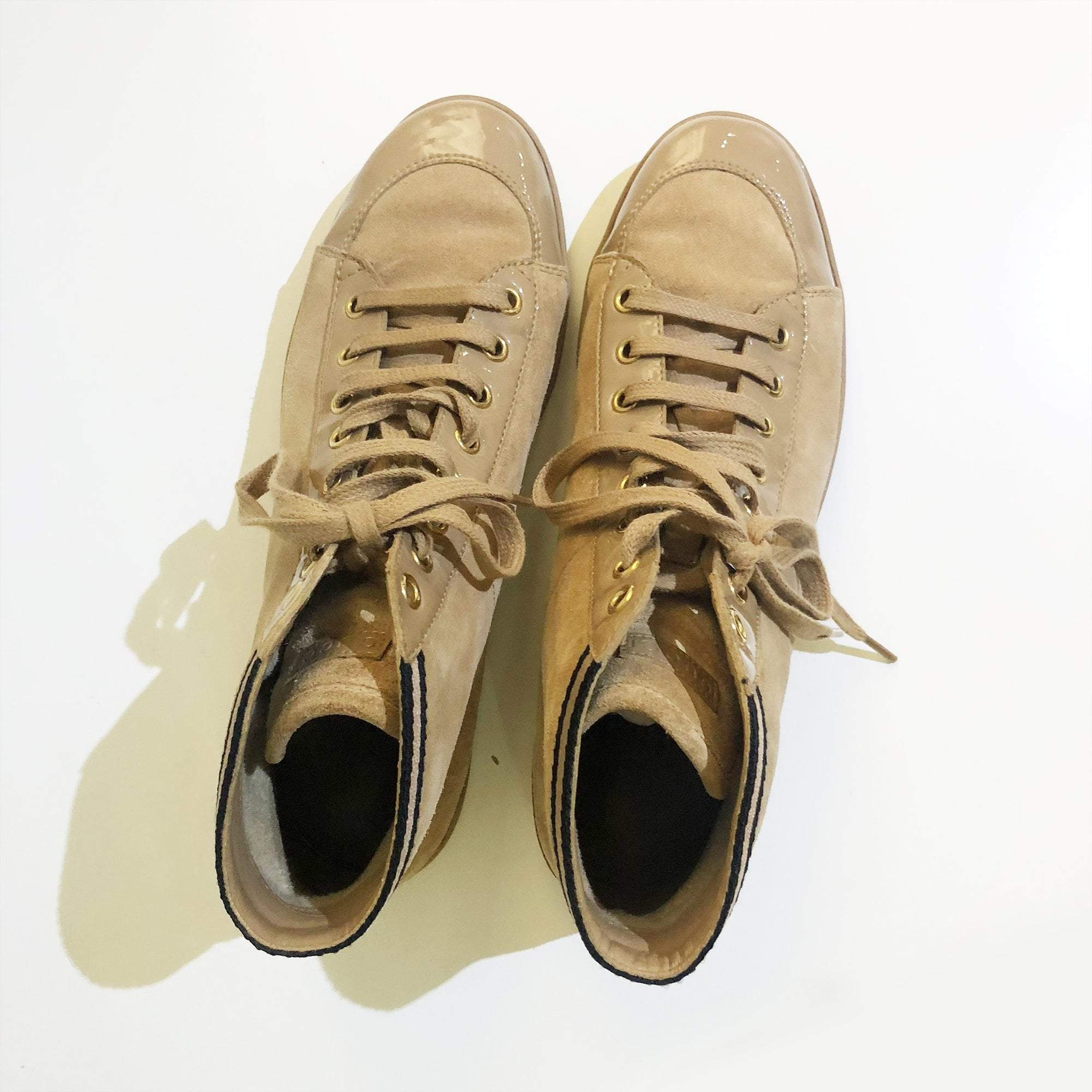 Gucci High Top Tan Suede Sneakers