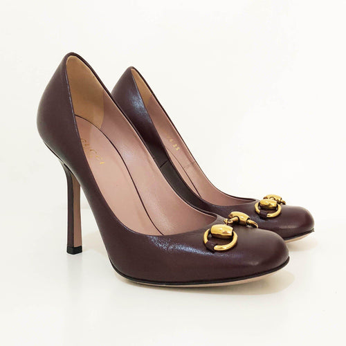 Gucci Burgundy Horsebit Square Toe Pumps