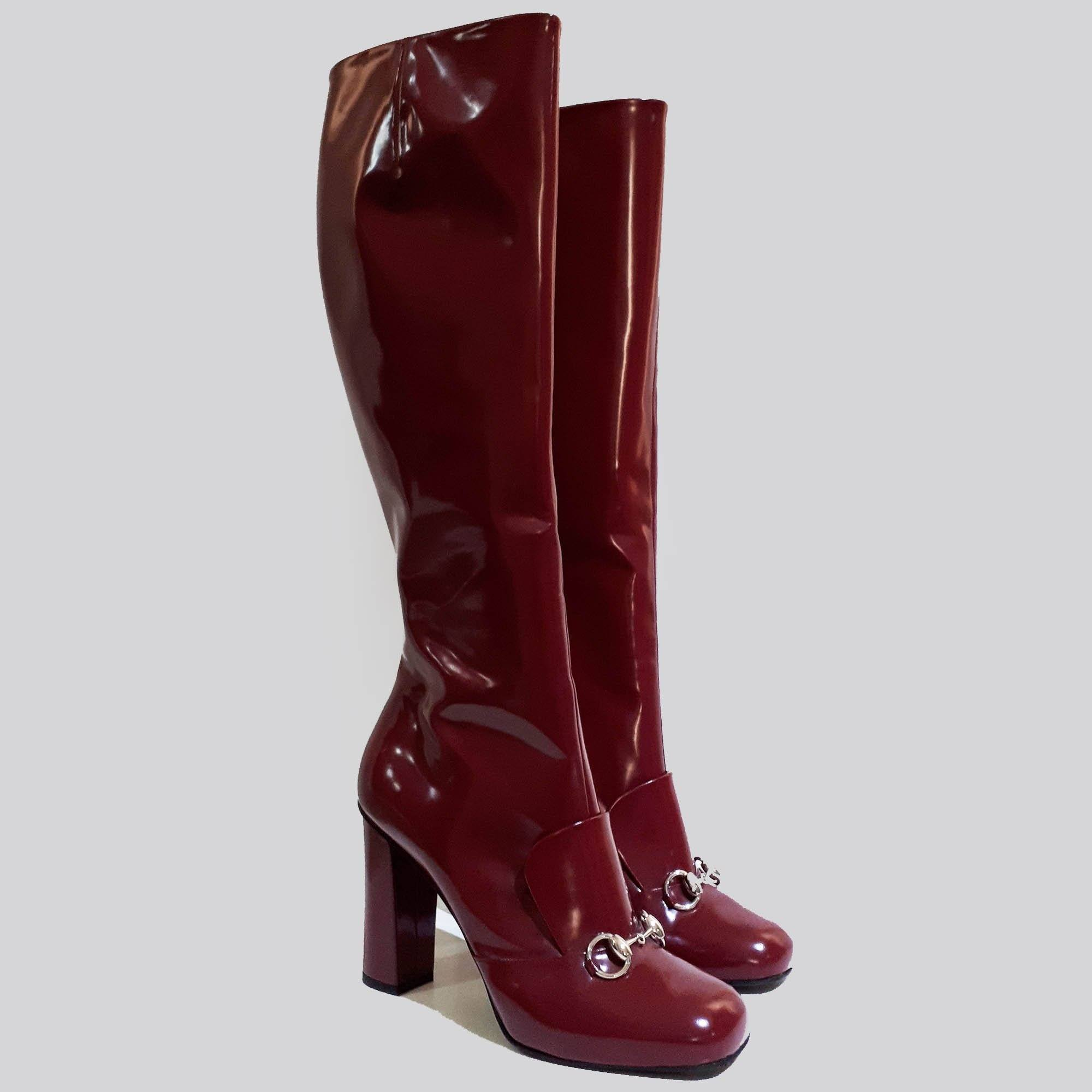 Gucci Red/Rose Leather Horsebit Knee Boot