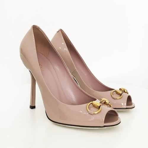 Gucci Rose Beige Patent Jolene Horsebit Peep Toe Pumps