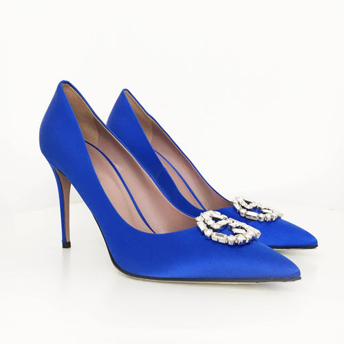 Gucci Blue Satin Gg Swarovski Crystal Logo Pointed Toe Pump Shoes
