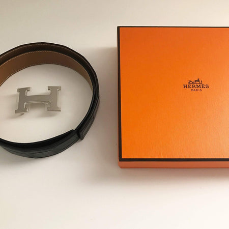 Hermes Black Crocodile Leather Belt 80 CM