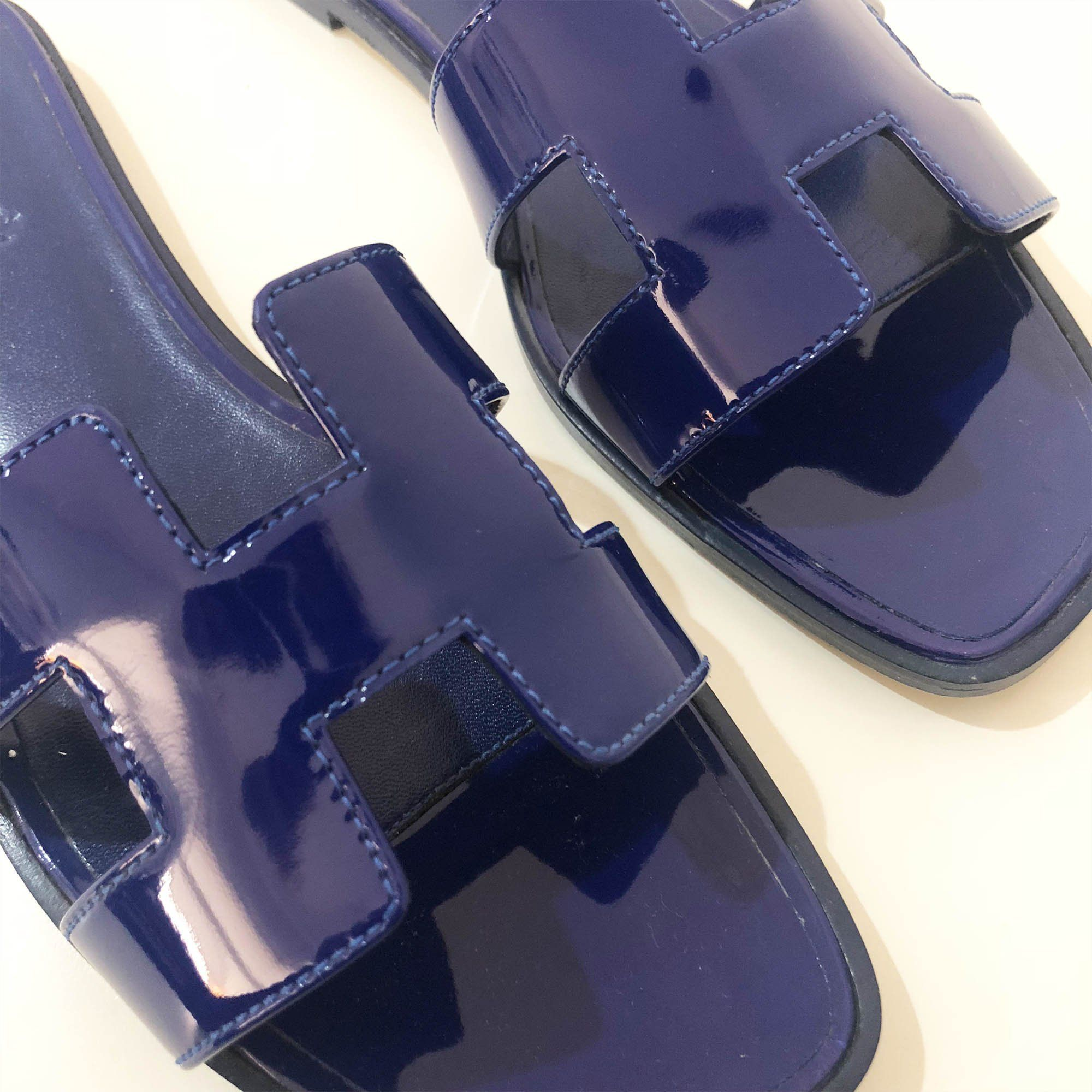 Hermes Blue Patent Leather  Oran Slippers