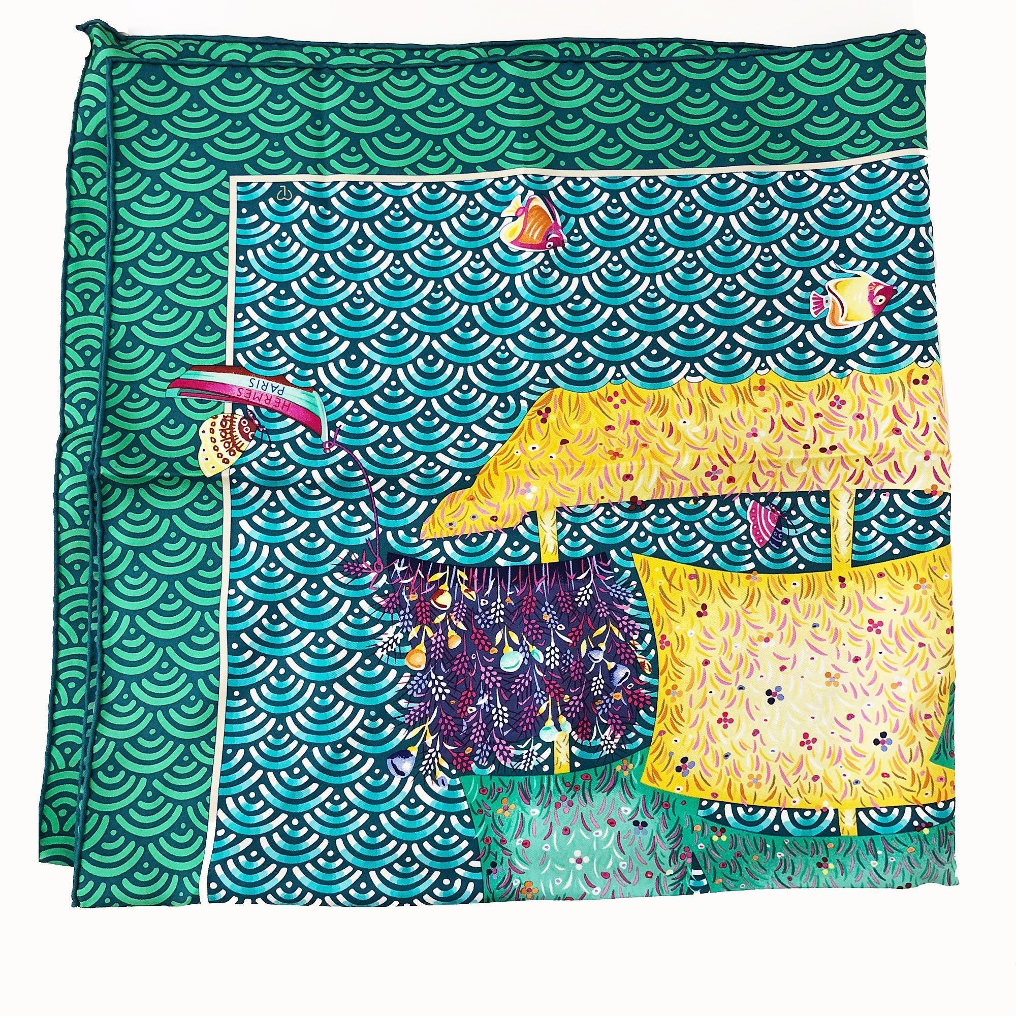 Hermes Ship Print Green/Blue/Multicolor Silk Scarf