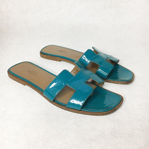 Hermes Turquoise Oran Slippers, Size 39