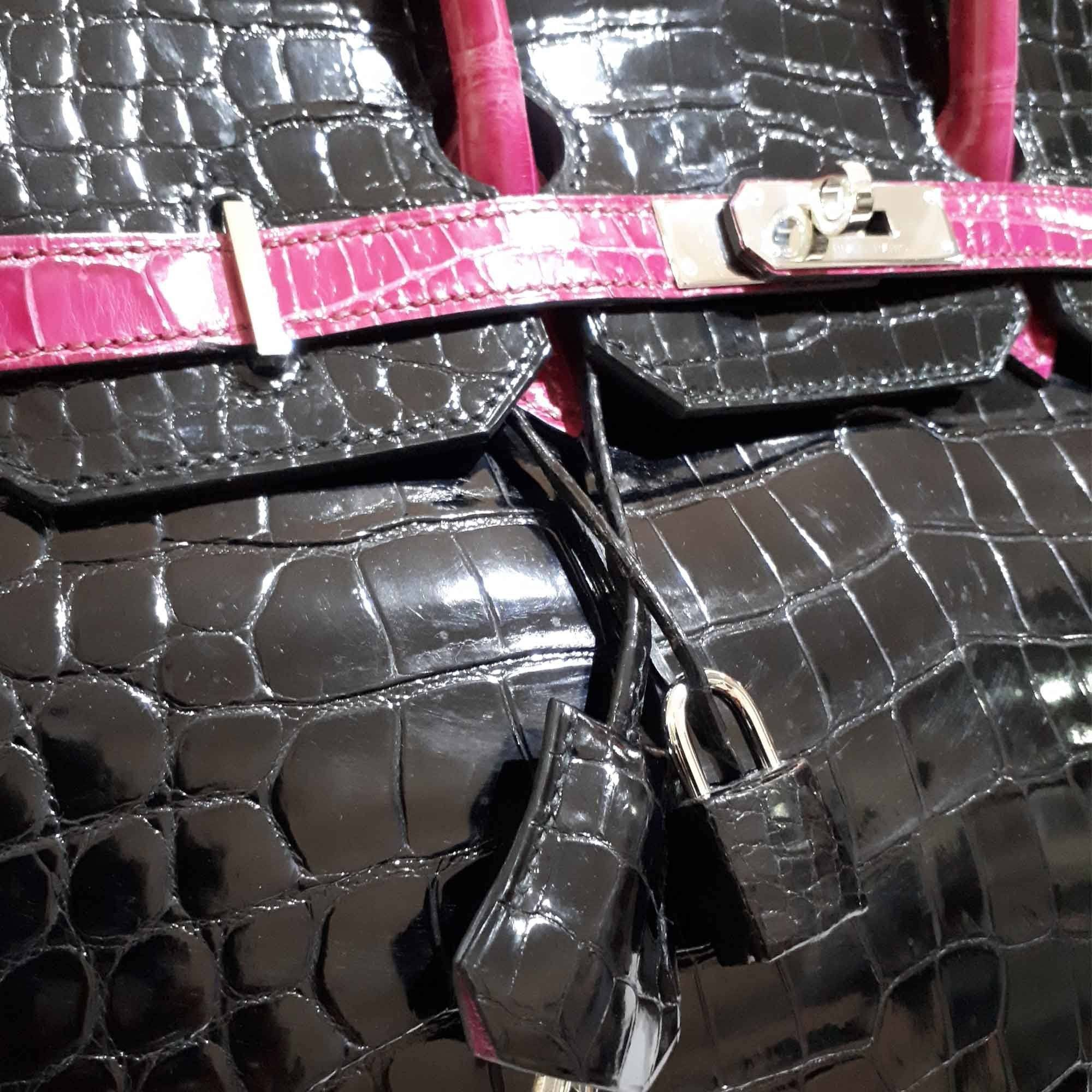 Hermes Black/Fuschia Bi-Color Crocodile Palladium Hardware Birkin 35 Bag