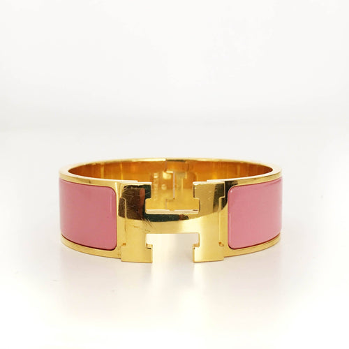 Hermes Clic Clac Pink Enamel Gold Plated Narrow Bracelet PM