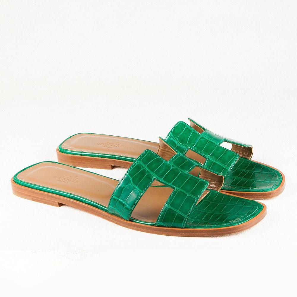 Hermès Oran Alligator Slide Sandals free shipping cost discount clearance store sale outlet cheap authentic where to buy 7sXVxJTX6
