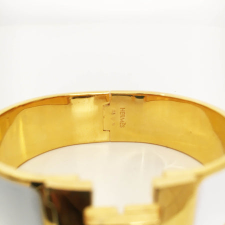 Hermes Clic Clac White Enamel Gold Plated Narrow Bracelet PM