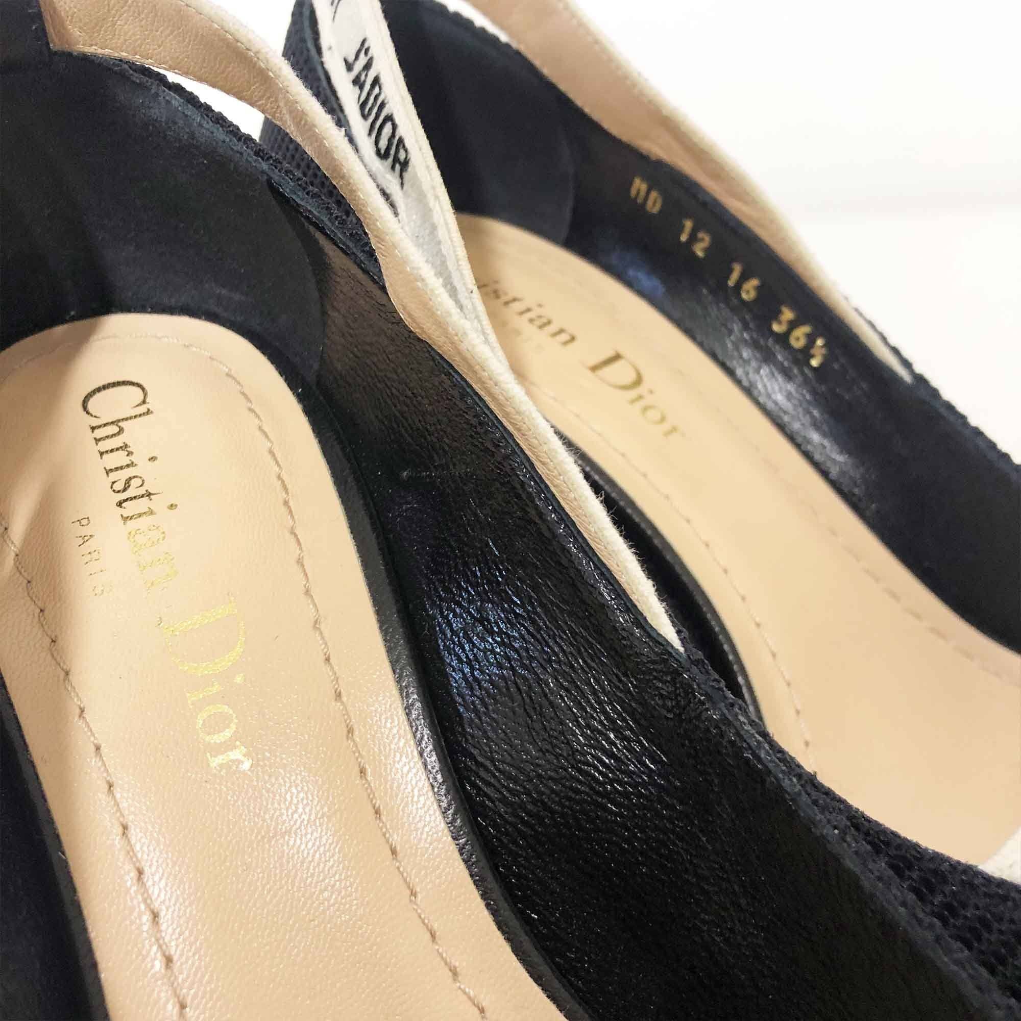 Christian Dior Ridged J'adior Ribbon Black Kitten Heel Pumps