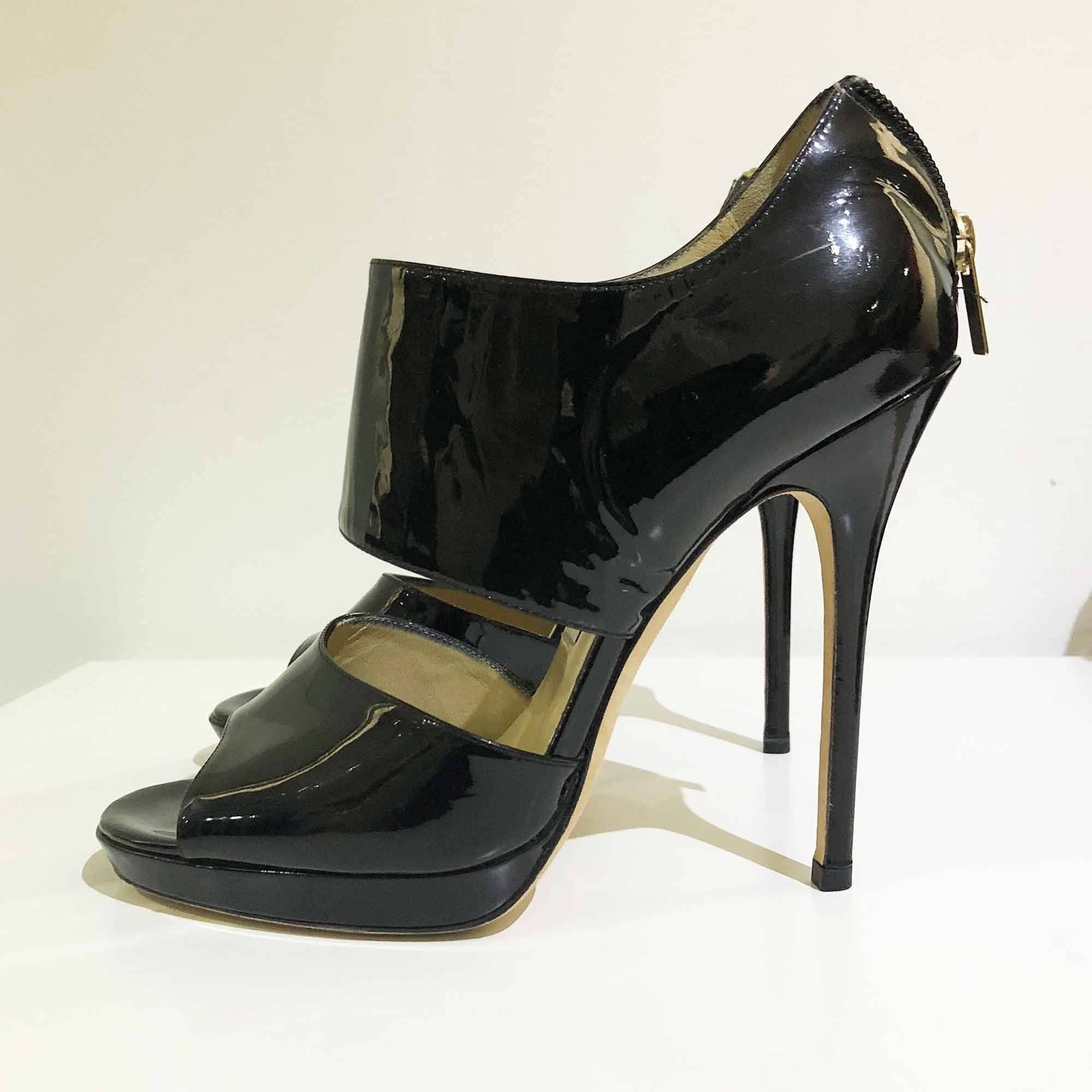 Jimmy Choo Black Patent Leather Cutout Booties