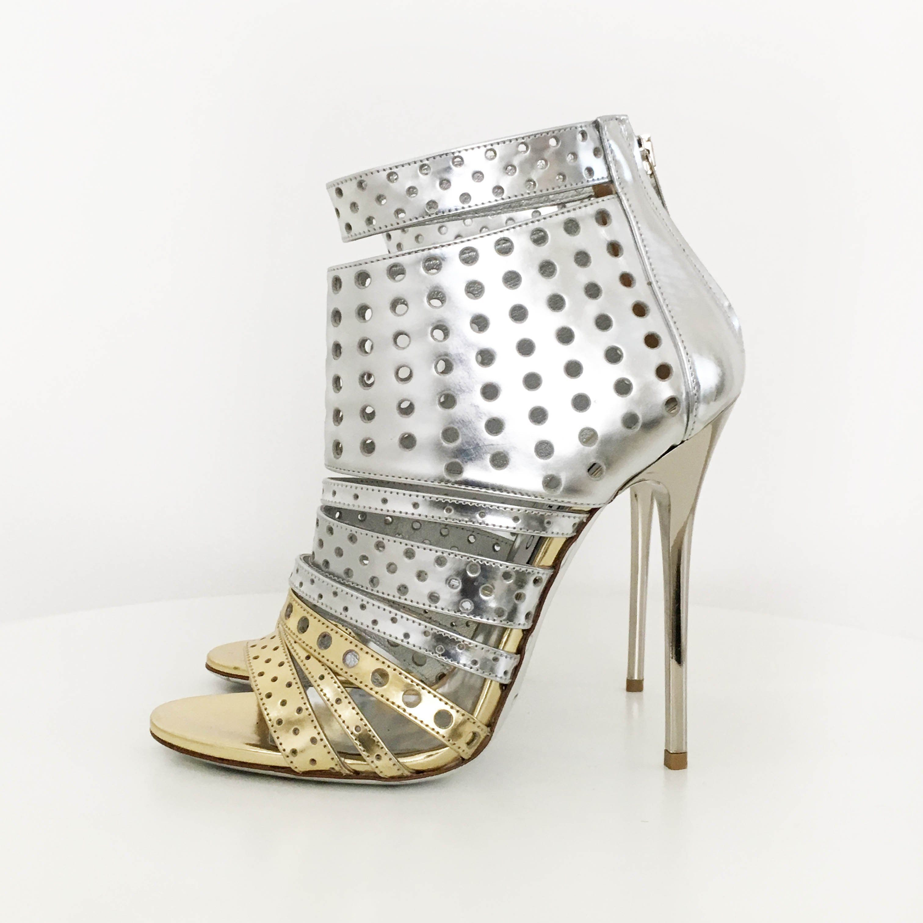 Jimmy Choo Malika Perforated Sandal Bootie Silver/Gold