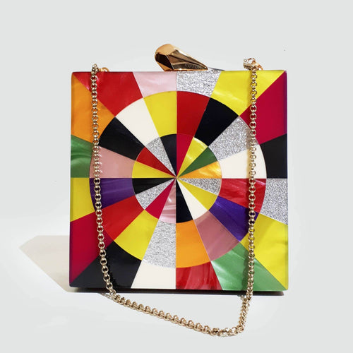 Kotur Multicolor Box Clutch Bag