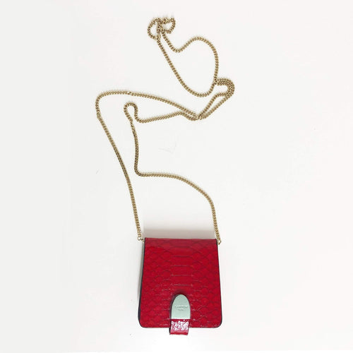 Lanvin Red Crossbody Python Wallet on Chain