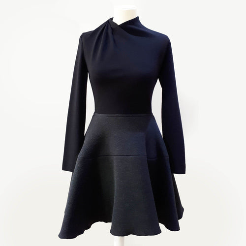 Lanvin Long Sleeve Flared Wool Dress