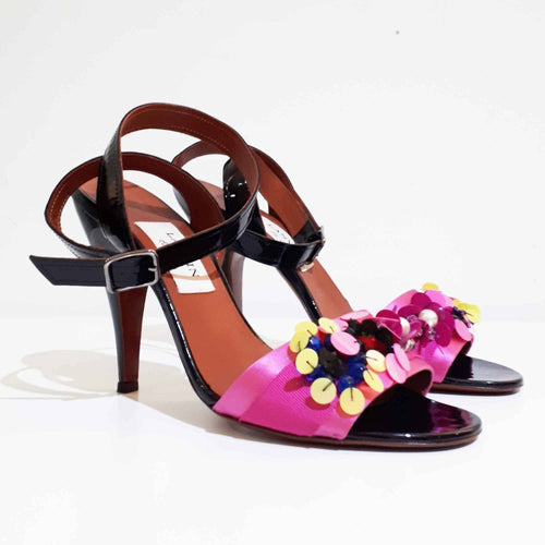 Lanvin Black with Pink Satin Sandal Heels