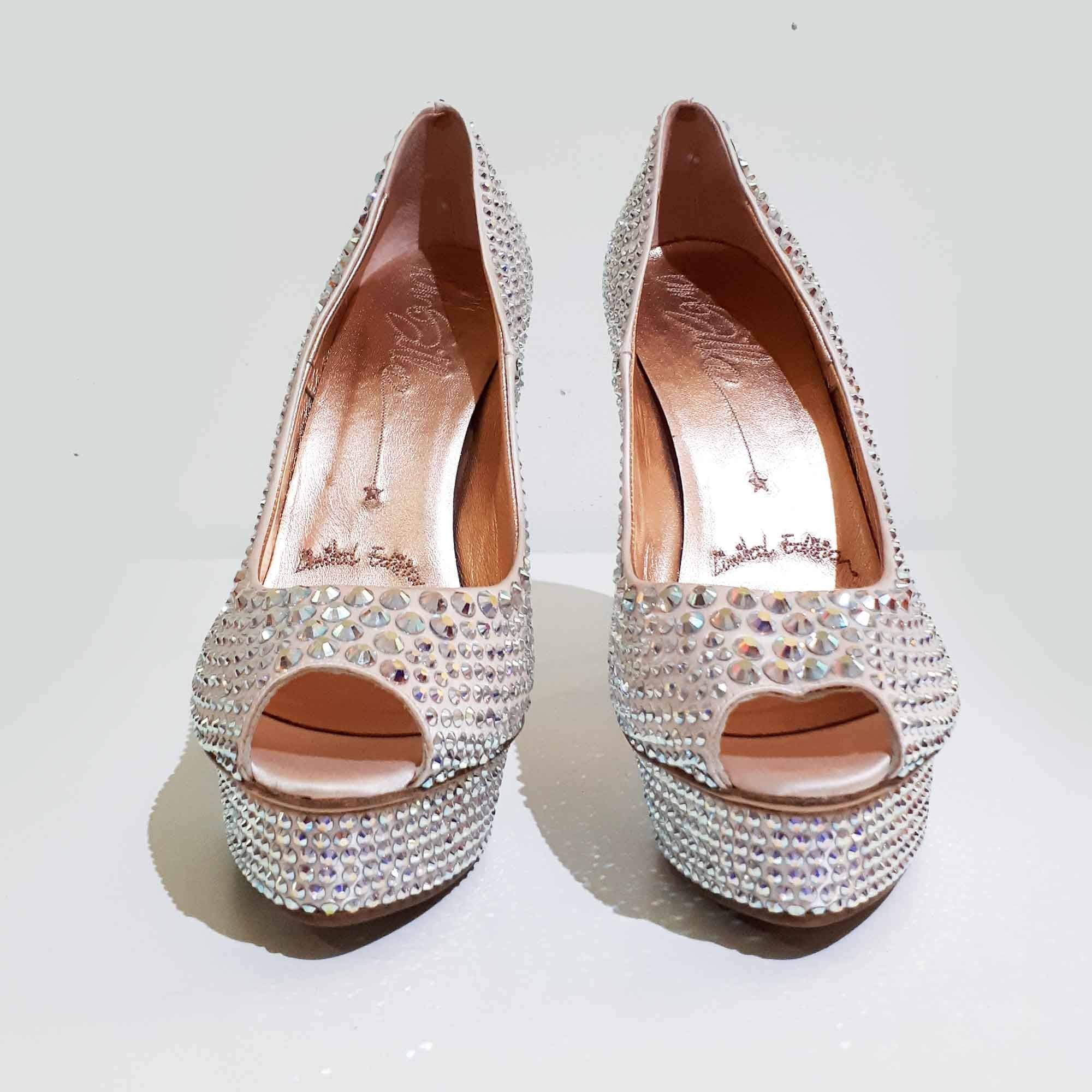 Le Silla Crystal Studded Platform Peep Toe Pumps