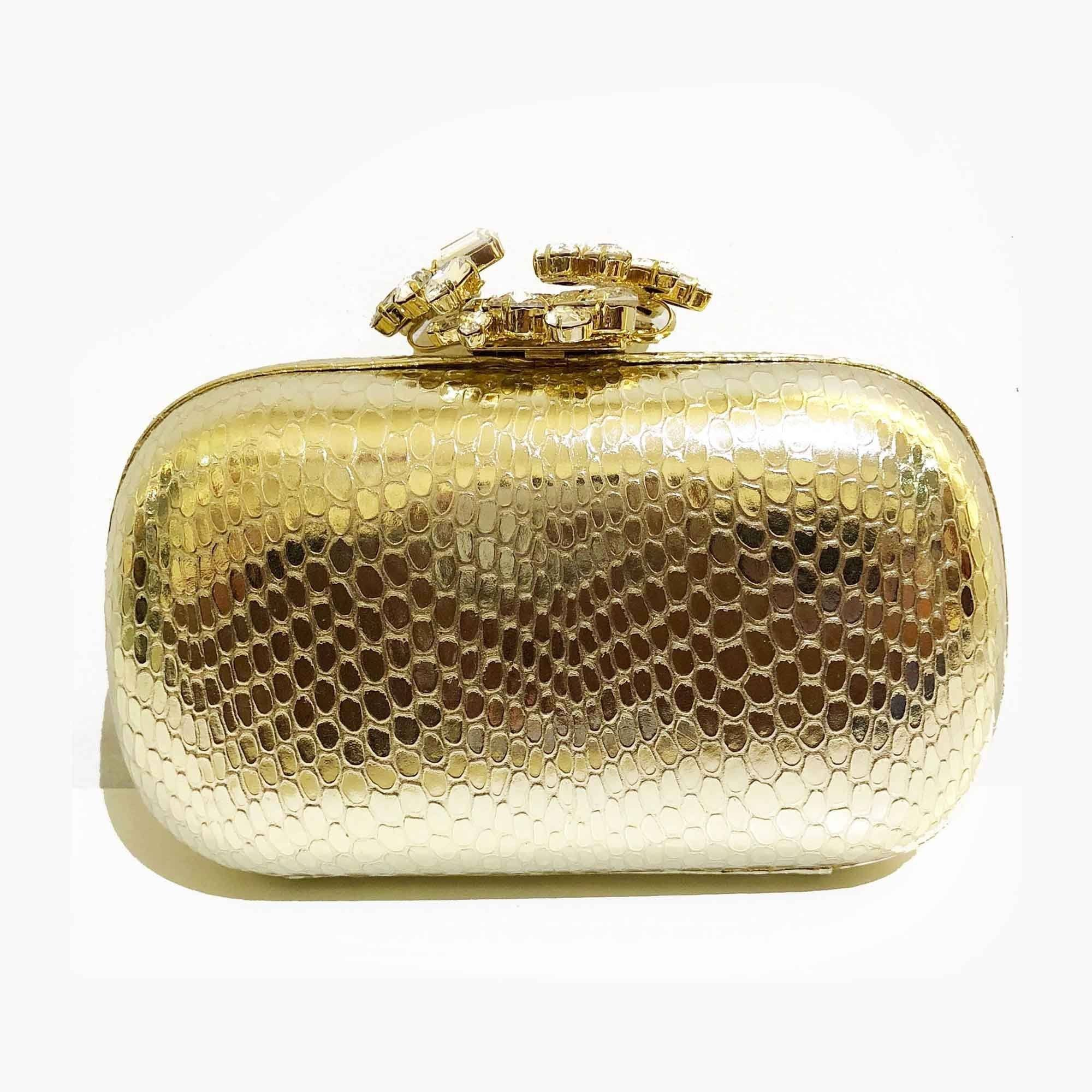 Le Silla Light Gold Python Embossed Clutch