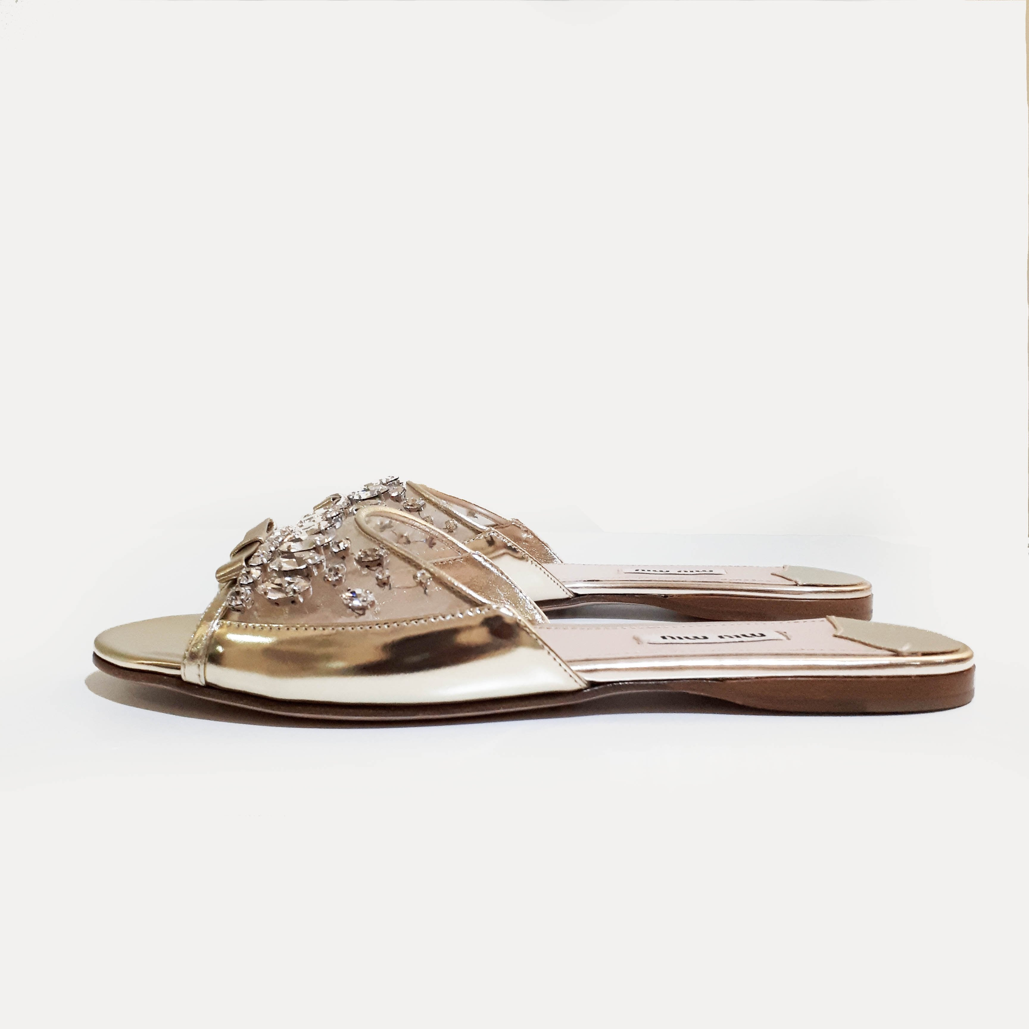 Miu Miu Light Gold Patent Leather Crystal Embellished Slip-On Sandal
