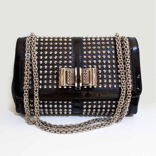 Christian Louboutin Black Silver Studded Bag