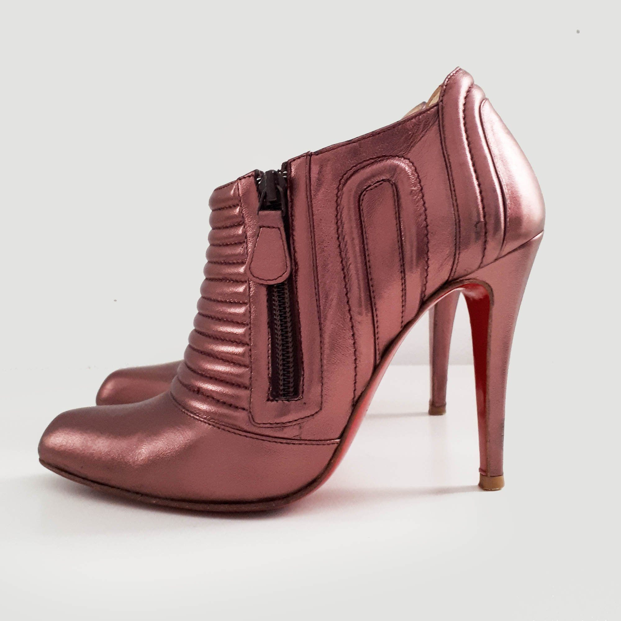 Christian Louboutin Sigourney Metallic Ankle Bootie Purple
