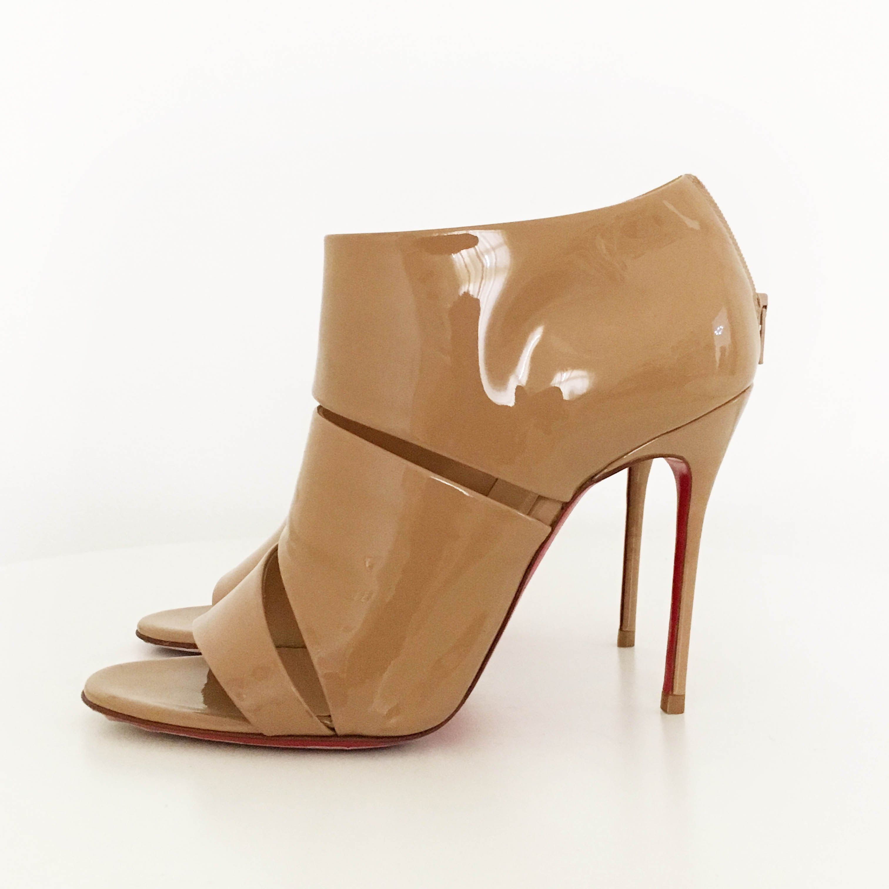 Christian Louboutin Beige Patent Leather Cut Out Sandal Heels