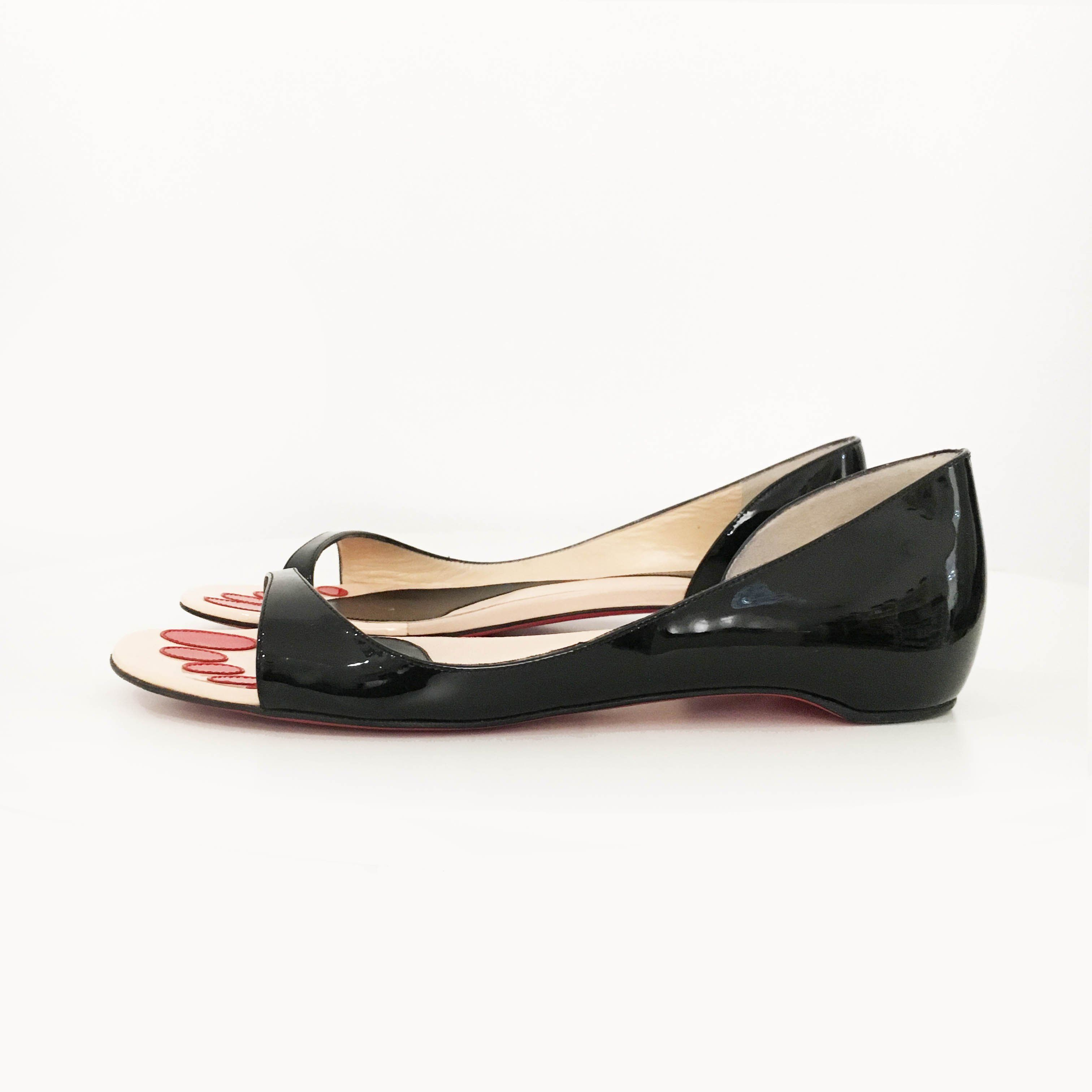 Christian Louboutin Black Patent Leather Flat Sandals