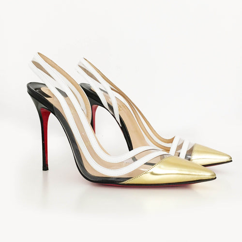 Christian Louboutin Paralili 100 Patent-leather & PVC Slingback Pumps