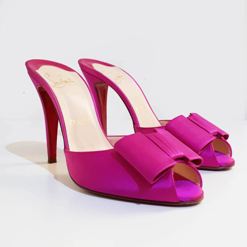 Christian Louboutin Satin Bow Slip On Sandal Heel