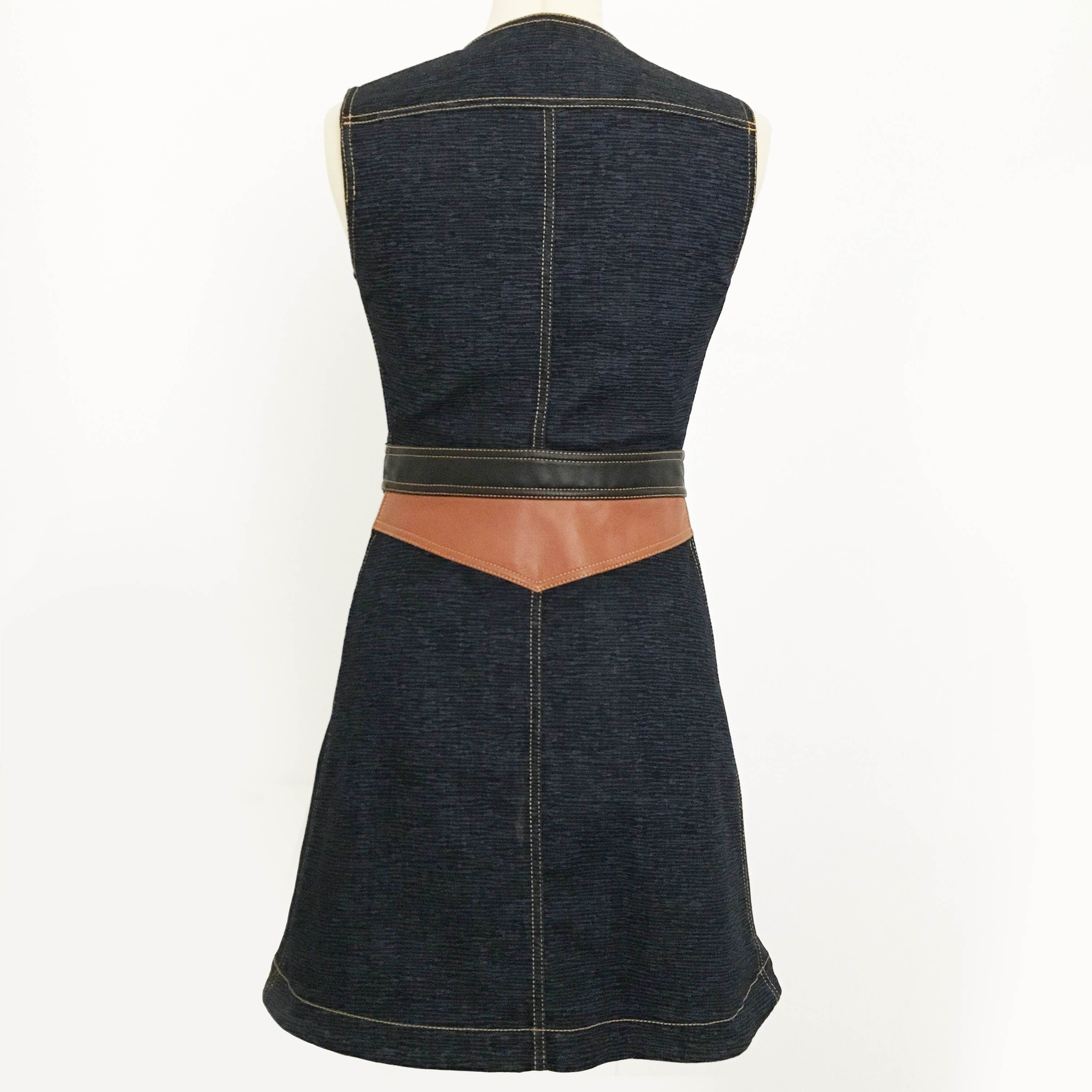 Louis Vuitton Denim Dress with Leather Patch