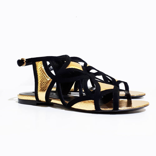 Louis Vuitton Gold and Black Gladiator Sandal
