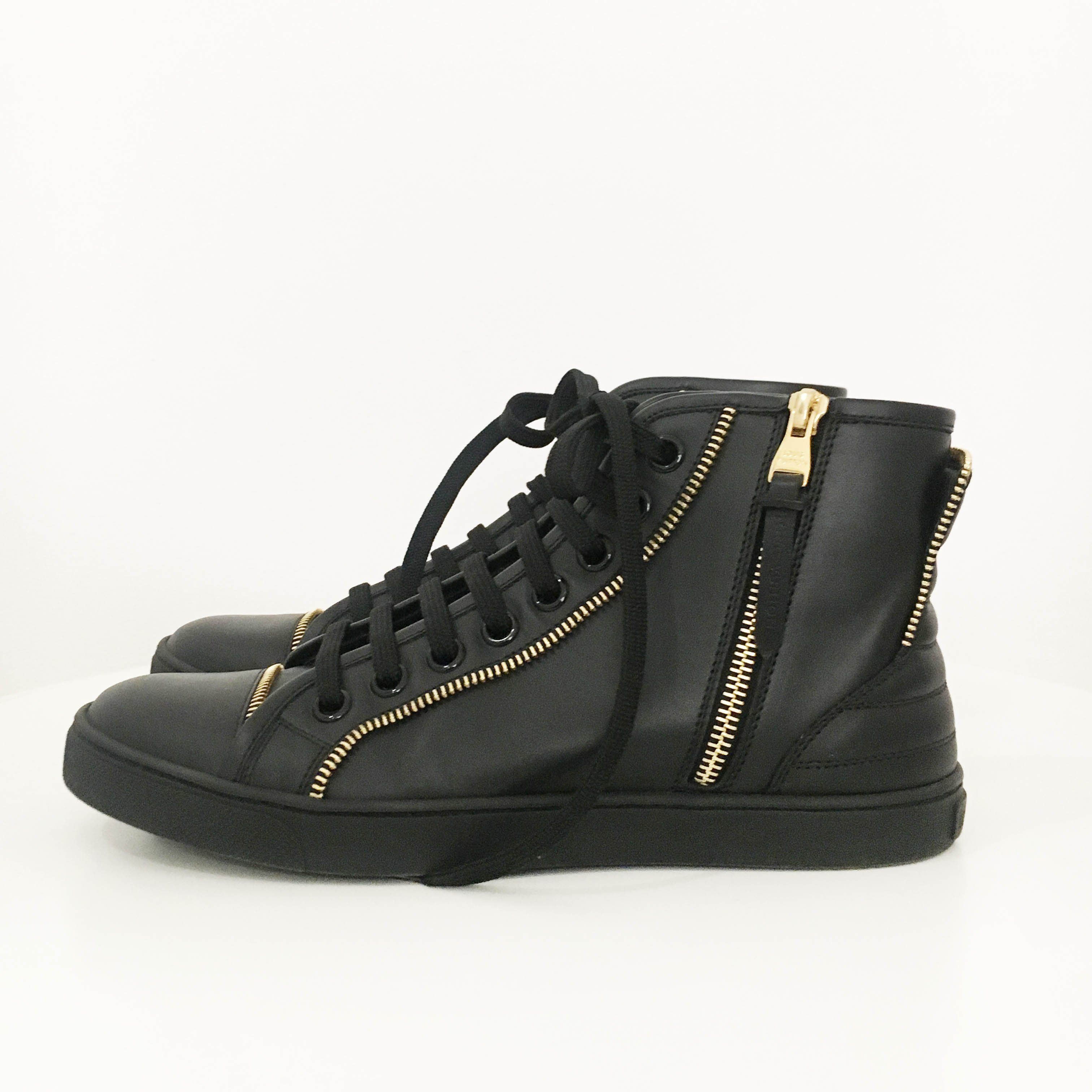 Louis Vuitton Black High Top Zipper Sneakers