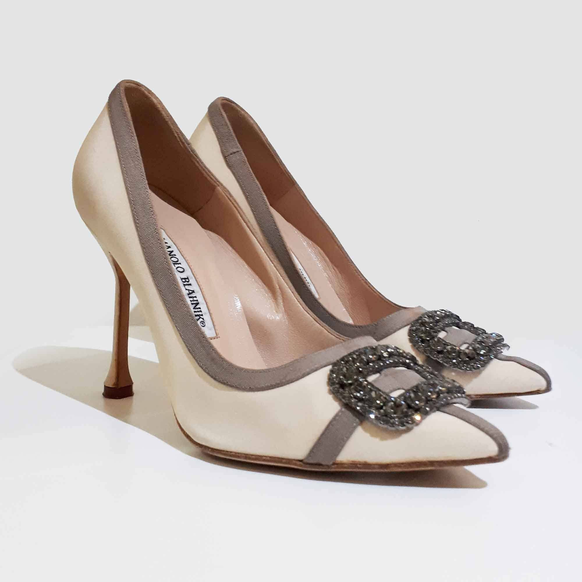 Manolo Blahnik Crystal Embellished Beige Satin Pumps