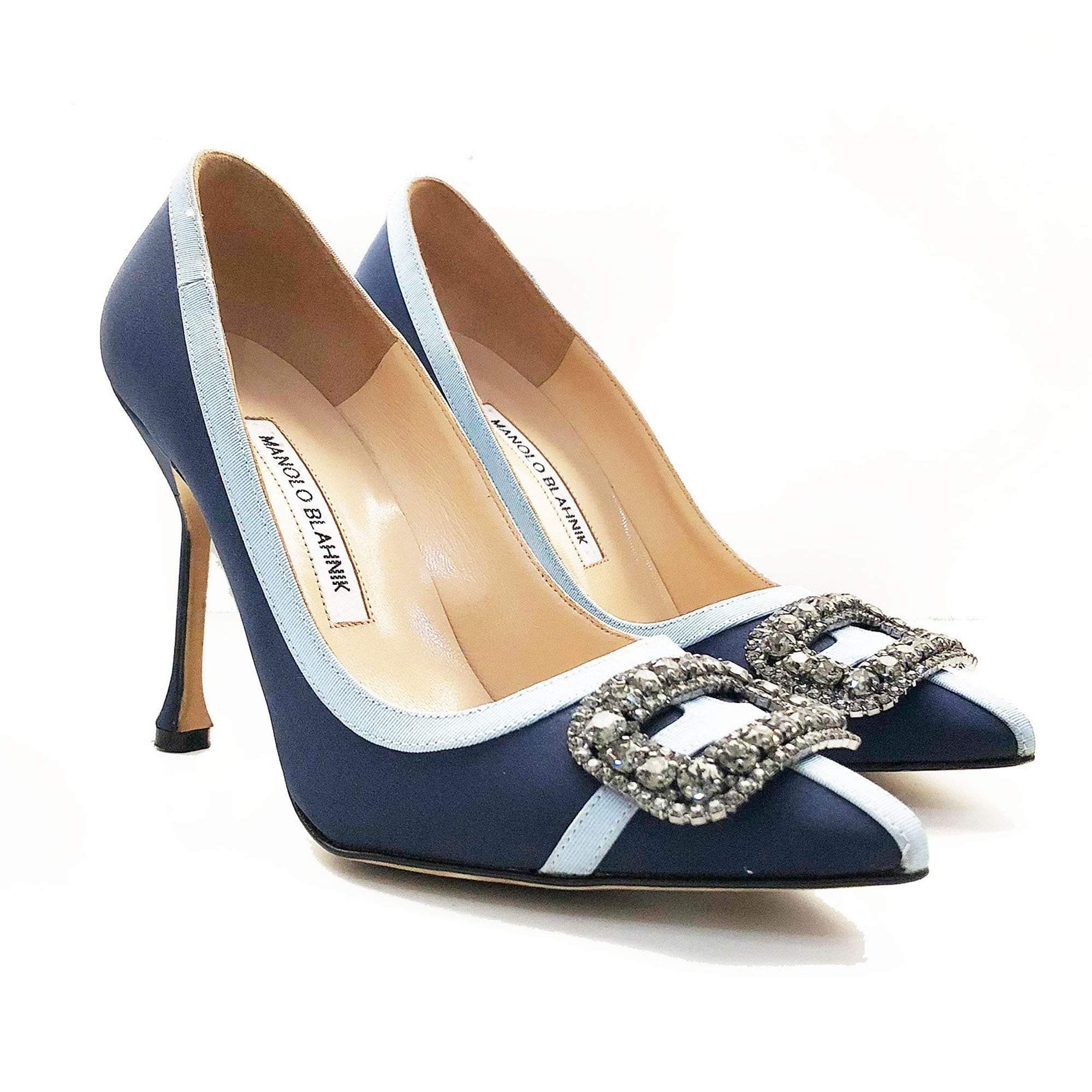 Manolo Blahnik Crystal Embellished Blue Satin Pumps