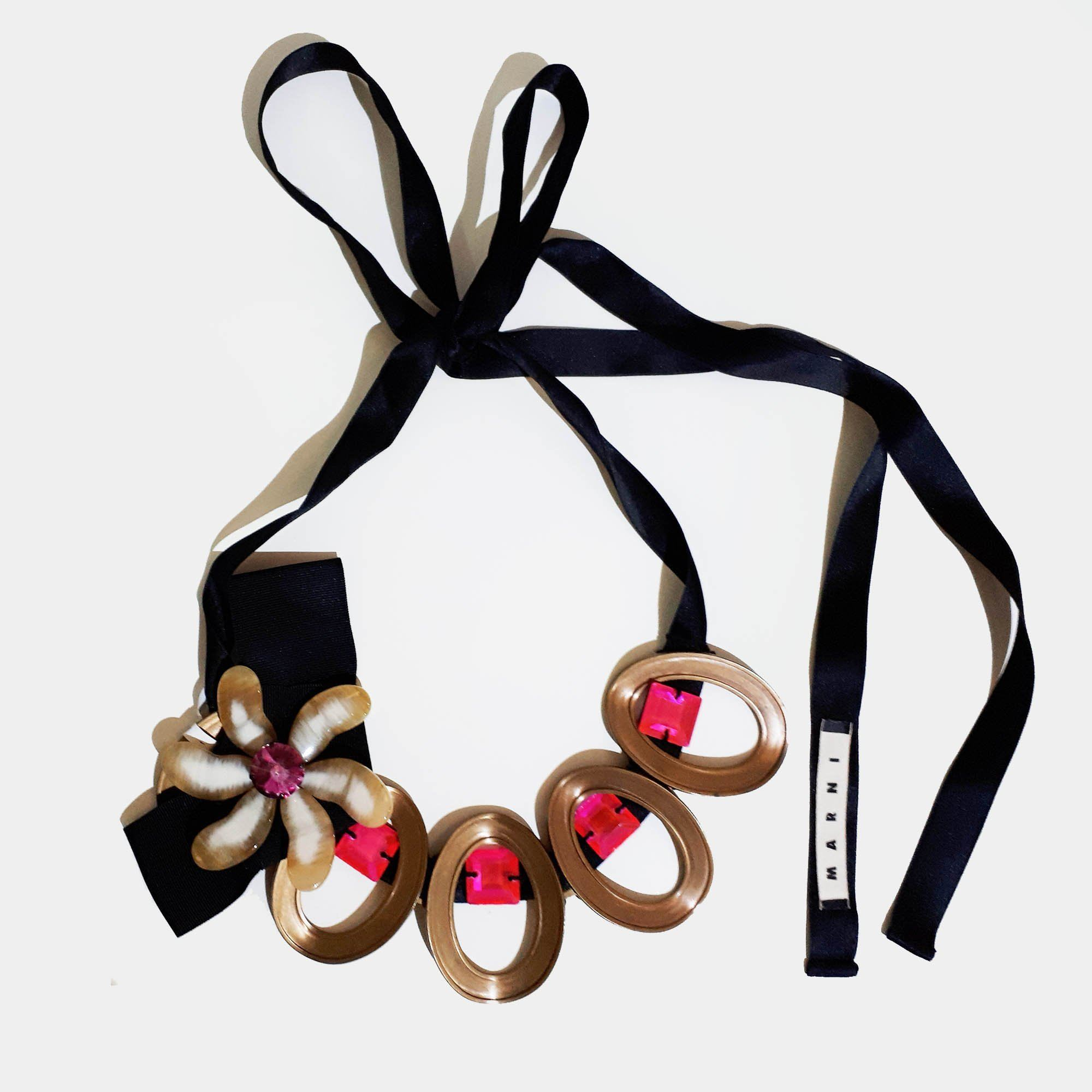 Marni Bronze and Pink Necklace with Black Lace
