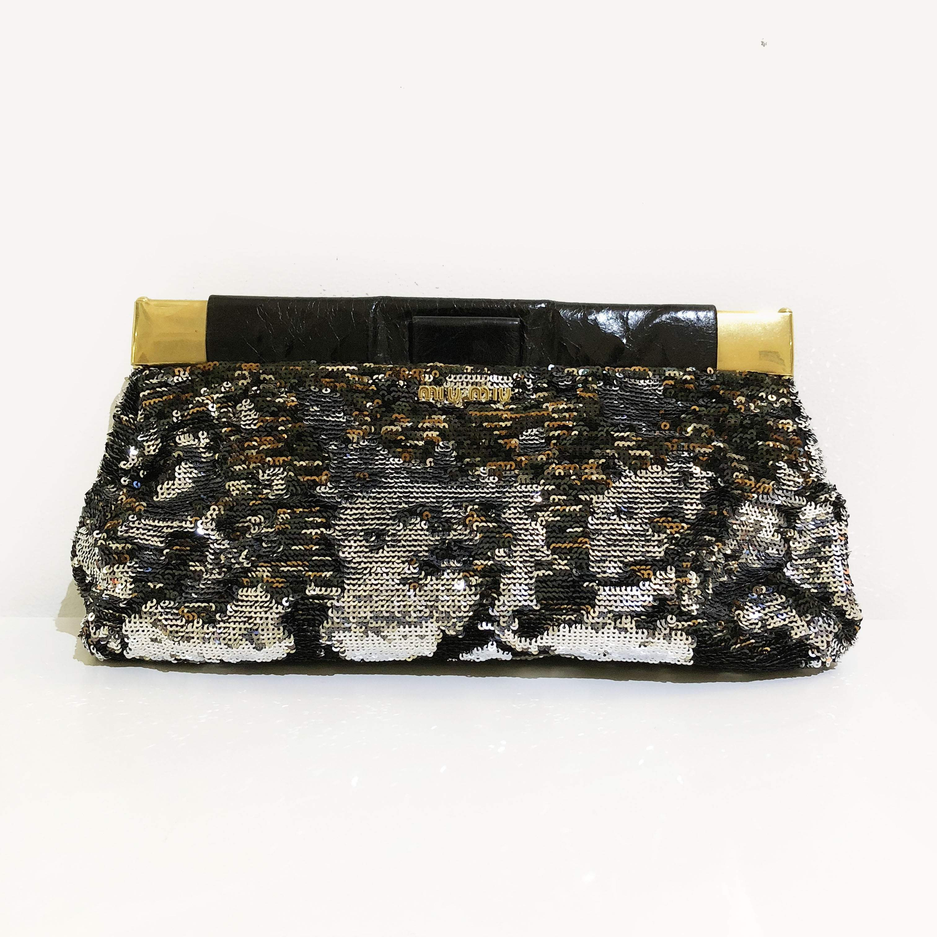 Miu Miu Sequin Black Silver Gold Clutch