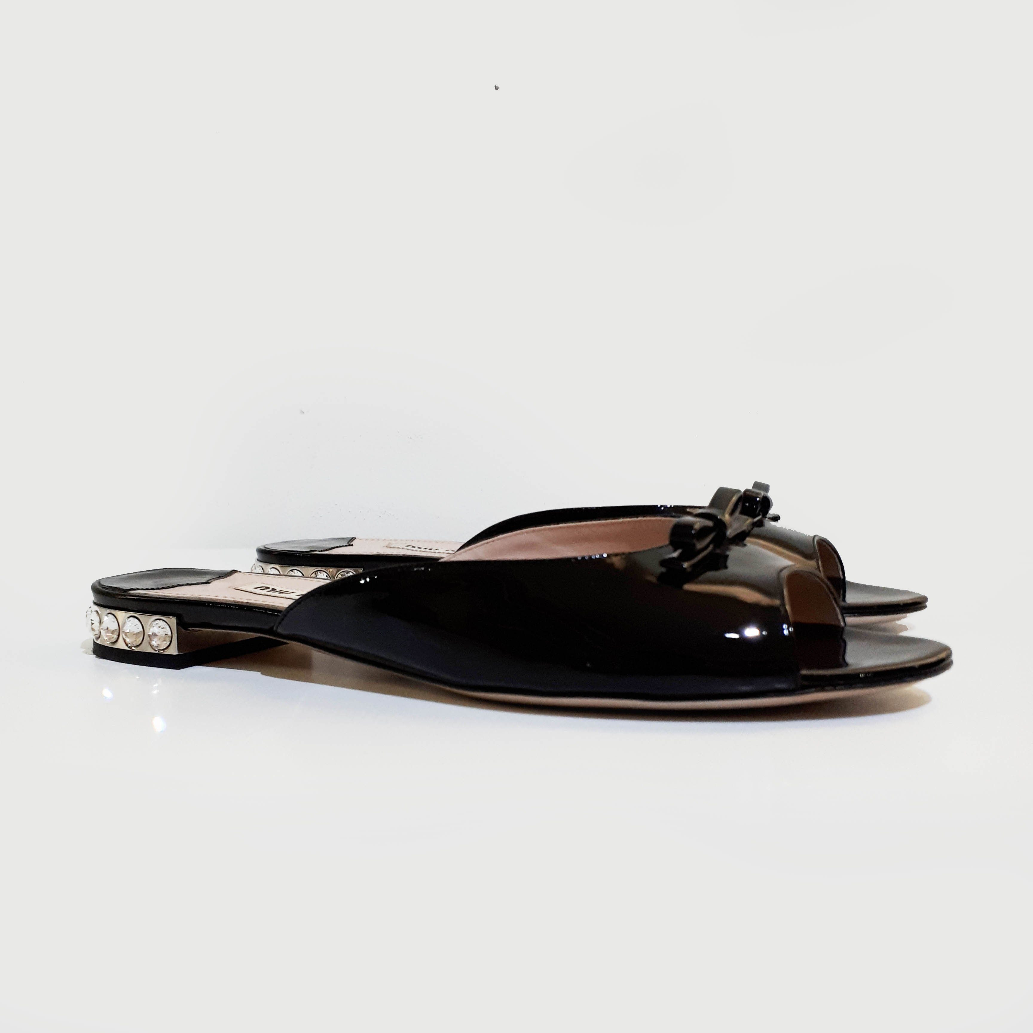 Miu Miu Black Patent Leather Slip-On Sandal
