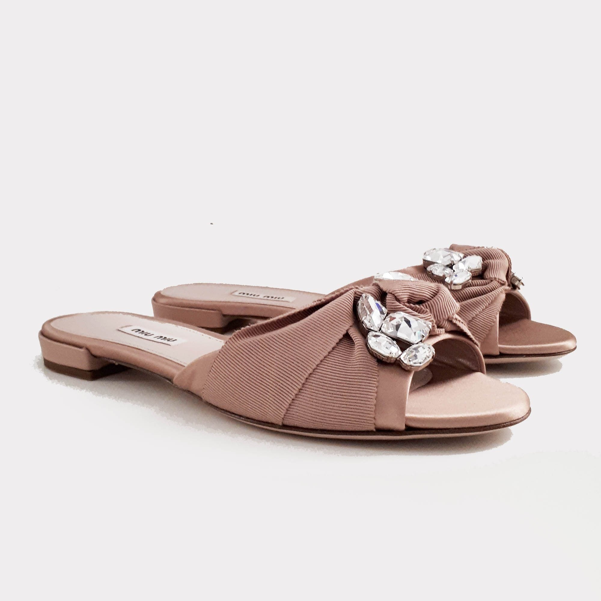 Miu Miu Rose Beige Satin Crystal Embellished Slip-On Sandal