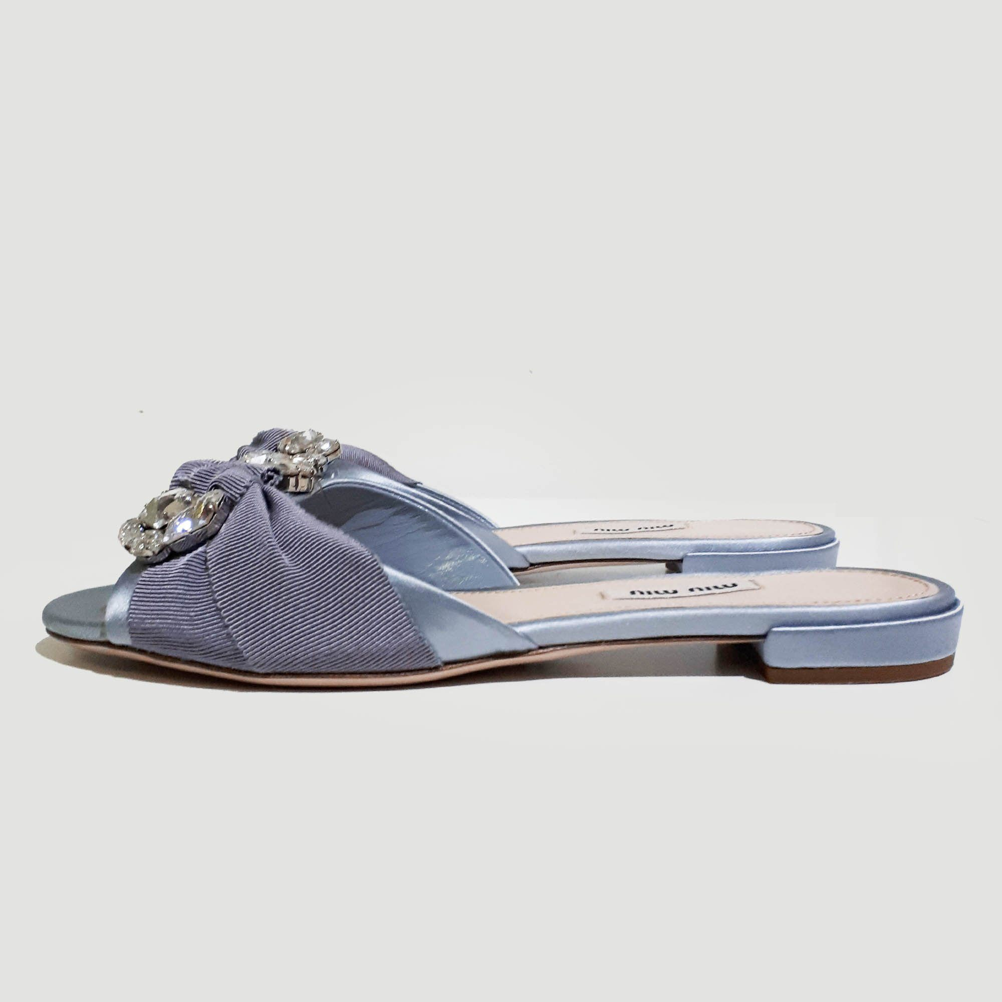 Miu Miu Light Blue Satin Crystal Embellished Slip-On Sandal