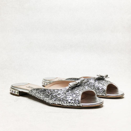 Miu Miu Silver Glitter Bow Detail Jeweled Flat Slippers