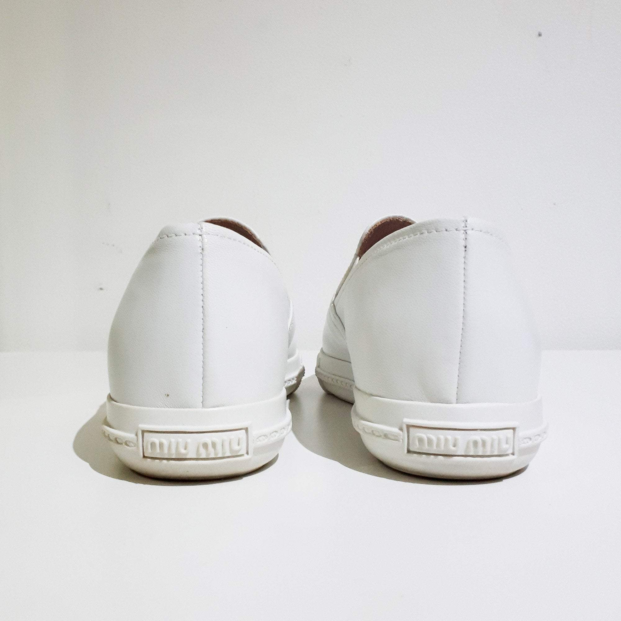 Miu Miu White Leather Metal Cap-Toe Shoes