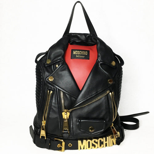 Moschino Black Leather Jacket Backpack