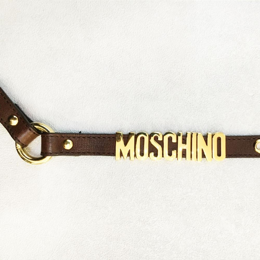 Moschino Brown Skinny Logo Belt