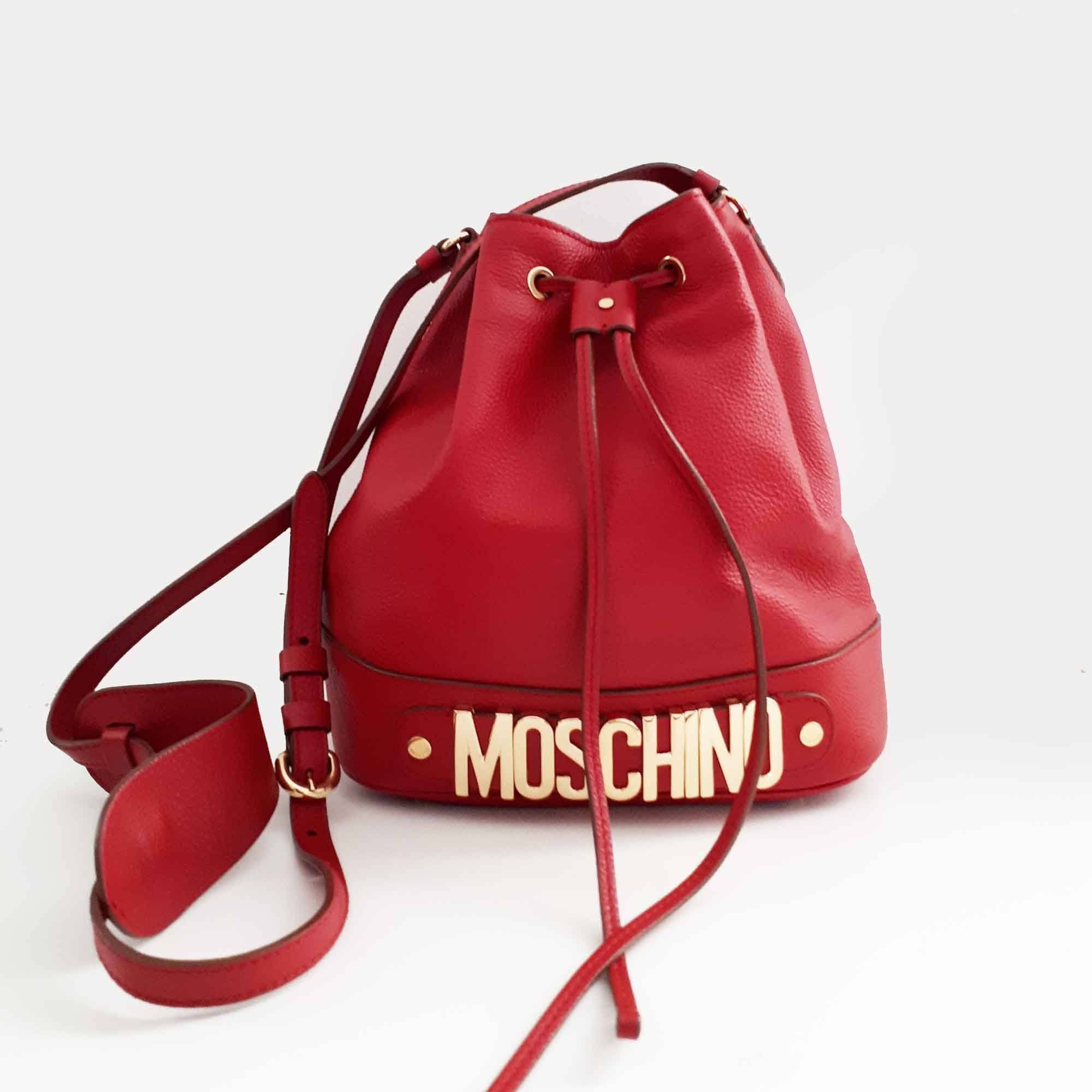 Moschino Red Bucket Bag