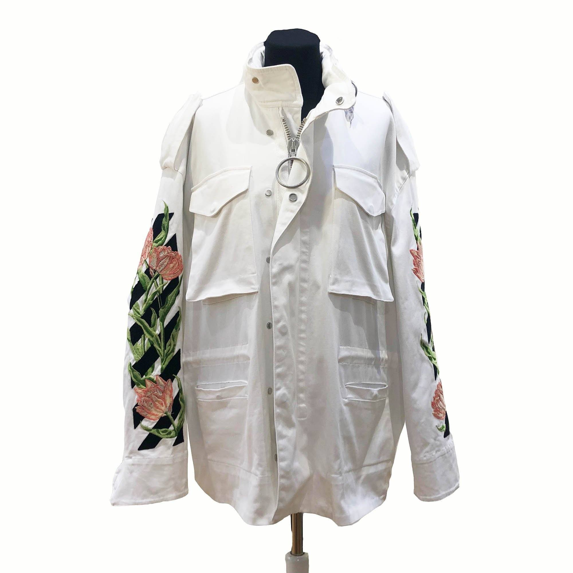 ae65826993ef Off-White White Denim Floral Embroidered Jacket – Garderobe