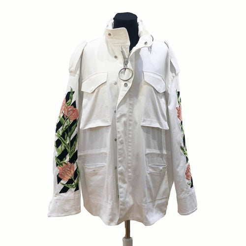 Off-White White Denim Floral Embroidered Jacket