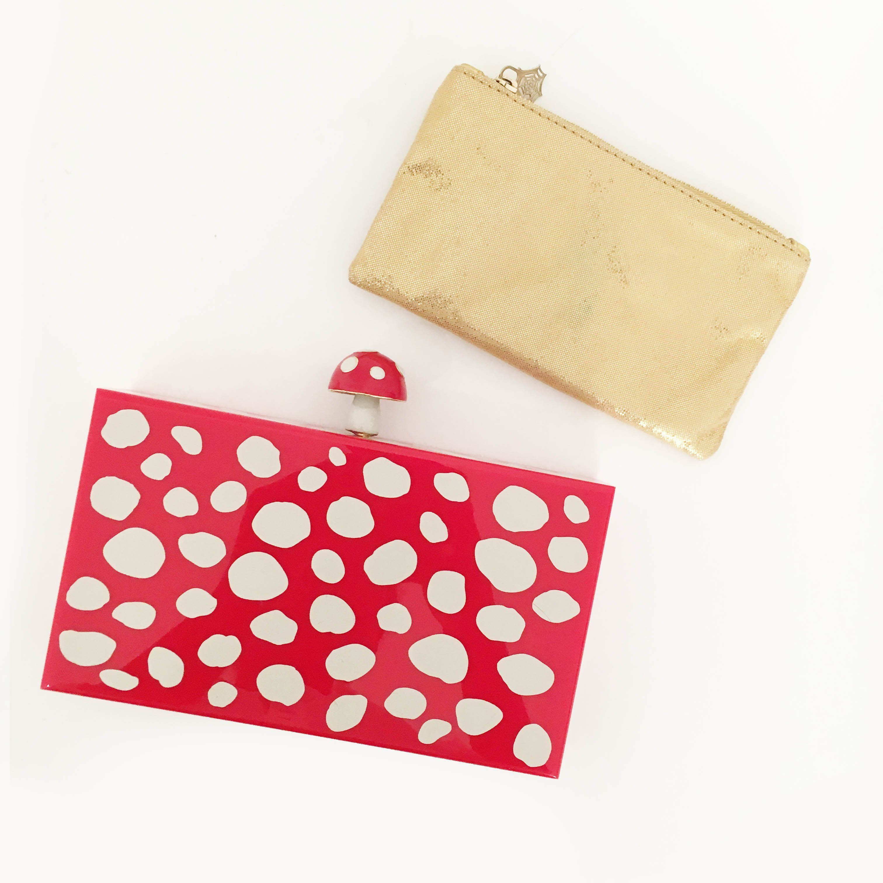 Charlotte Olympia Red Mushroom Pandora Perspex Box Clutch
