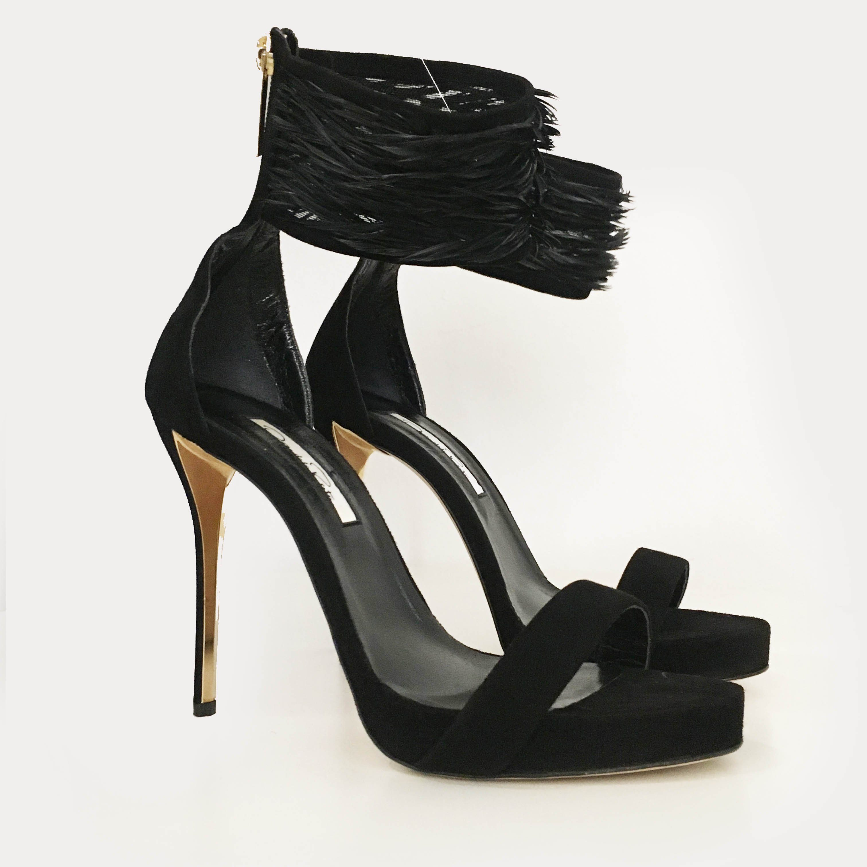 Oscar De La Renta Sandals Suede Papaya Sandra Feather-trimmed